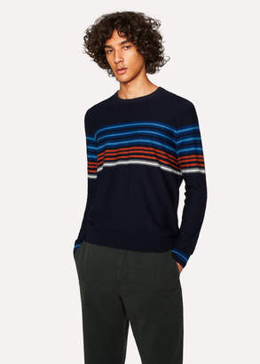 Paul Smith Men's Navy Textured-Stripe Crew Neck Sweater