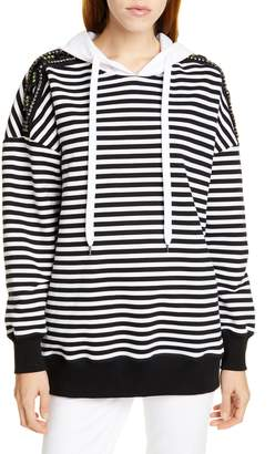 N°21 N21 N?21 Stripe Embellished Shoulder Hoodie