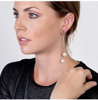Kenneth Jay Lane Silver Chain And Pearl Drop Pierced Earrings