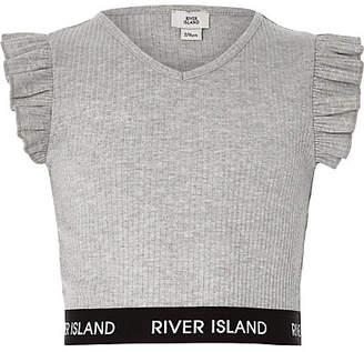 River Island Girls grey frill sleeve V neck crop top