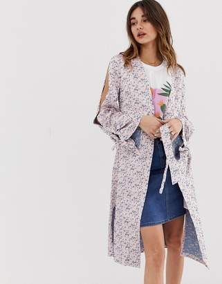 Lost Ink Kimono Jacket With Split Sleeves In Jacquard