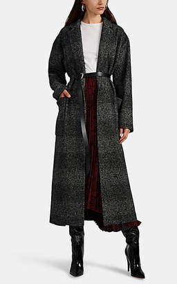 Barneys New York Women's Plaid Wool-Blend Belted Coat - Black