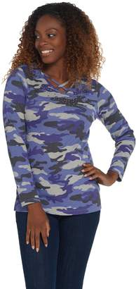 Factory Quacker Embellished Heathered Camo Long Sleeve Knit Top