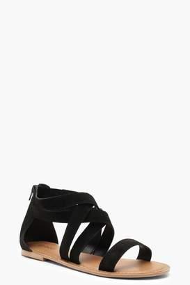 boohoo Multi Strap Gladiator Suede Sandals