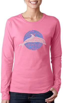 LOS ANGELES POP ART Los Angeles Pop Art Women's Word Art Long Sleeve T-Shirt - Species of Dolphin