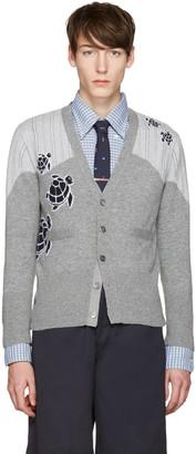 Thom Browne Grey Sea Animal V-Neck Cardigan $1,910 thestylecure.com