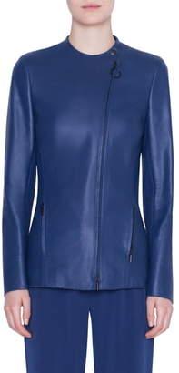 Akris Punto Asymmetrical Zip Perforated Leather Jacket