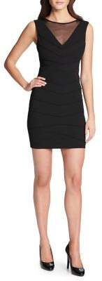 GUESS Mesh Neckline Sheath Dress