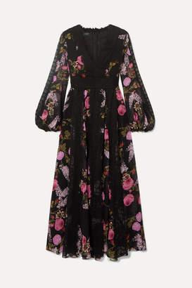 Giambattista Valli Lace-trimmed Floral-print Silk-georgette Midi Dress - Black