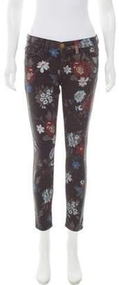 Current/Elliott Floral Mid-Rise Skinny Jeans