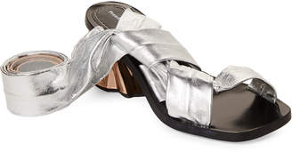 Proenza Schouler Silver Metallic Leather Ankle-Wrap Sandals