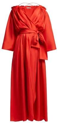 Three Graces London - Tessa Off The Shoulder Silk Wrap Dress - Womens - Red