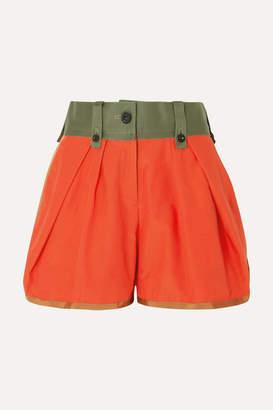 Sacai Gabardine And Grosgrain-trimmed Poplin Shorts - Orange