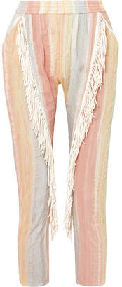 Paradised Fringed Striped Gauze Pants - Pastel orange