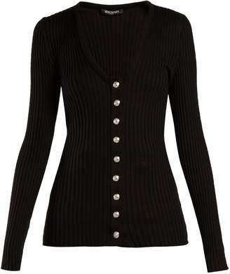 Balmain Ribbed-knit cotton cardigan
