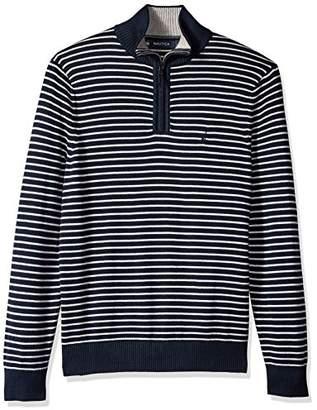 Nautica Men's Standard Long Sleeve 1/4 Zip Stripe Sweater with Suede Pull Detail