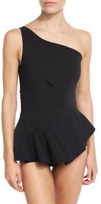 La Petite Robe di Chiara Boni Astrea One-Shoulder Swimdress, Black $410 thestylecure.com
