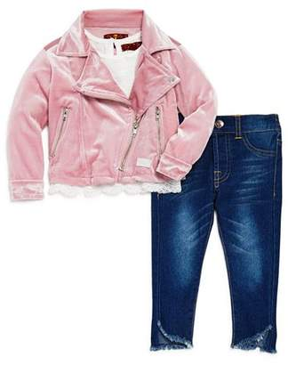 7 For All Mankind Girls' Velour Moto Jacket, Tee & Jeans Set - Baby