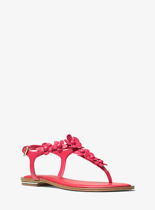 Michael Kors Tricia Floral Applique Leather Sandal