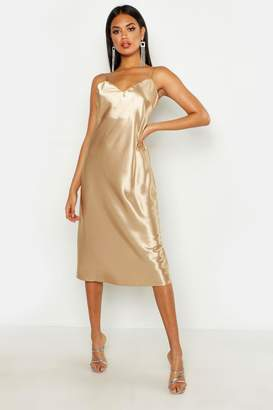 boohoo Satin Slip Midi Dress