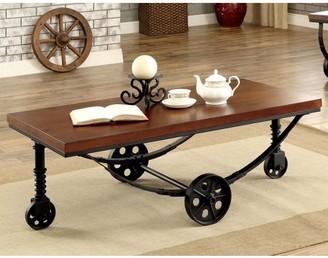 Furniture of America Elin Industrial Coffee Table, Dark Oak