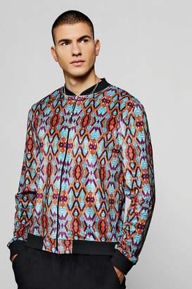 boohoo Aztec Velour Printed Bomber Jacket