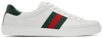 Gucci White Leather Stripe New Ace Sneakers $515 thestylecure.com