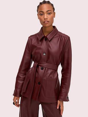 Kate Spade Leather Tie Waist Jacket, Cherrywood - Size 0