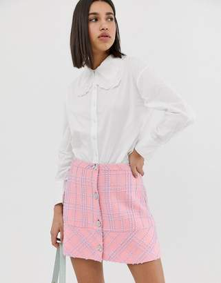 Neon Rose shirt with oversized peter pan collar and lace trim