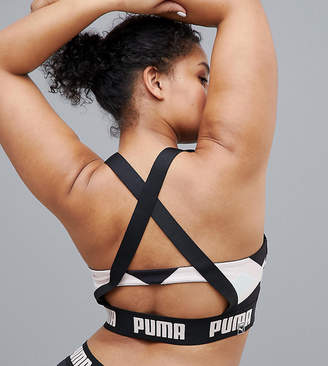 Puma Exclusive To ASOS Plus Geometric Print Bra Top