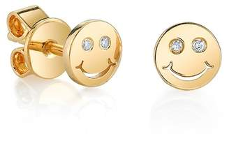 Sydney Evan Syd by 14K Yellow Gold Plated Sterling Silver Diamond Happy Face Stud Earrings - 0.02 ctw