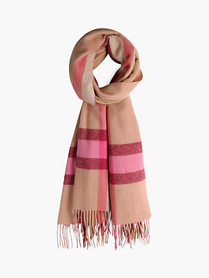 Hush Chessie Wool Scarf, Chestnut/Caramel/Pink/Ecru