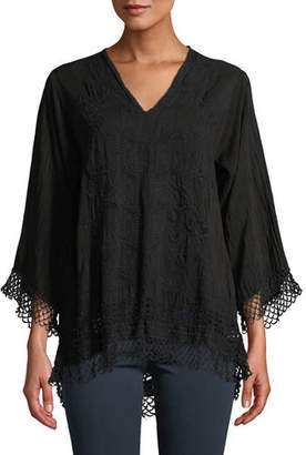 Johnny Was Assic V-Neck Top with Lace Trim