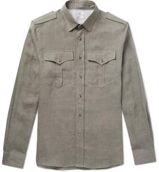 Brunello Cucinelli Linen Western Shirt - Men - Green
