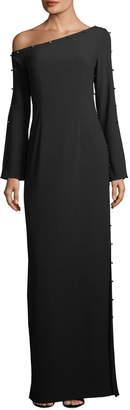 Zac Posen Louise Metallic Stud One-Shoulder Gown