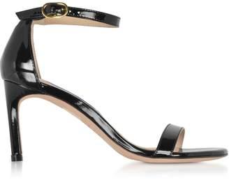 Stuart Weitzman The Nunaked Straight Black Patent Leather Sandals