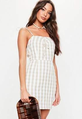 Missguided Stone Gingham Slip Dress