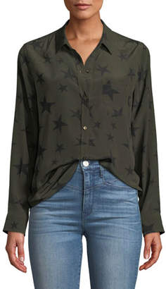 Rails Kate Star-Print Silk Button-Down Top