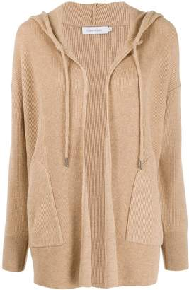 Calvin Klein hooded ribbed cardigan