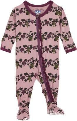 Kickee Pants Grape Print Ruffle Zip Footie