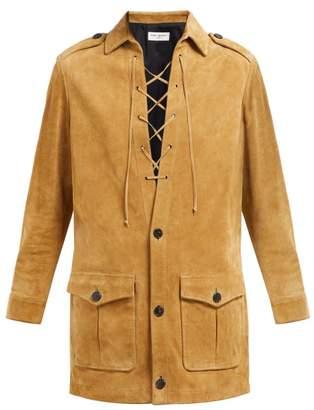 Saint Laurent Lace Up Suede Mini Dress - Womens - Light Brown