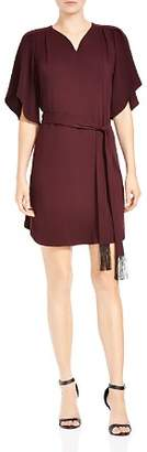Halston Belted Flutter-Sleeve Crepe Dress