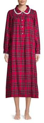 Lanz Peter Pan Collar Long-Sleeve Nightgown