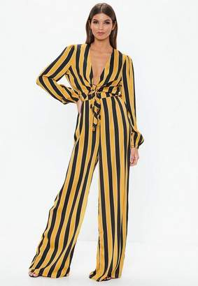 Missguided Tall Mustard Striped Wide Leg Pants
