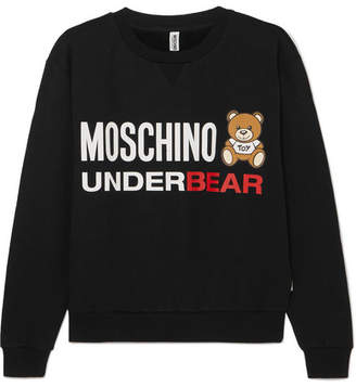 Moschino Printed Cotton-jersey Sweatshirt - Black