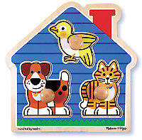 Melissa & Doug NEW House Pets Knob Puzzle 3pce