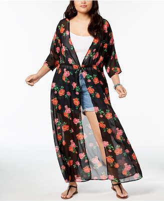 Planet Gold Trendy Plus Size Printed Kimono Top
