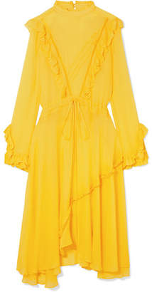 Preen Line Deanna Ruffled Georgette Midi Dress - Yellow