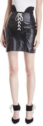 Monse Lace-Up Leather Skirt
