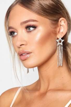 boohoo Silver Star Diamante Statement Earrings